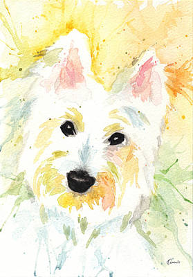 Watercolor Pet Portraits Painting - White Terrier by Kathleen Wong