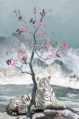 Digital Art - White Tiger And Plum Tree by IM Spadecaller