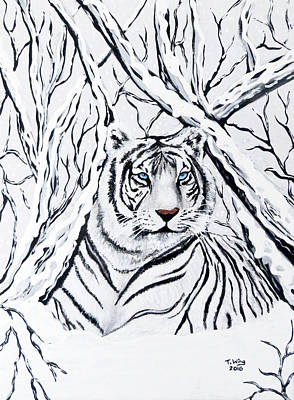 Art Print featuring the painting White Tiger Blending In by Teresa Wing