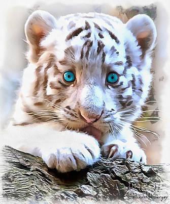 White Tiger Cub Art Print by Sergey Lukashin