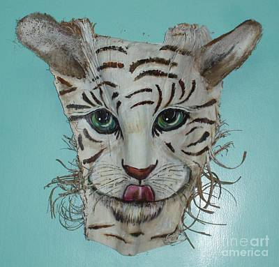 The View Mixed Media - White Tiger by Ellen Burns