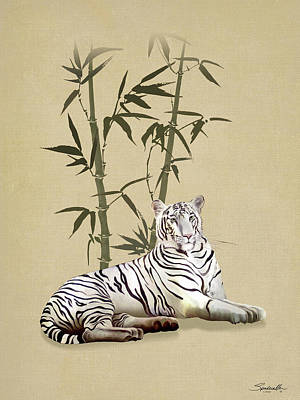 Digital Art - White Tiger In Bamboo Forest by IM Spadecaller