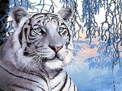 Animals Digital Art - White Tiger by Jacqueline Brodie Welan