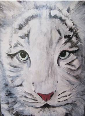 Painting - White Tiger Looking At You by Denice Palanuk Wilson
