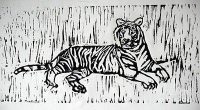 Lino Cut Relief - White Tiger by Lori Moon
