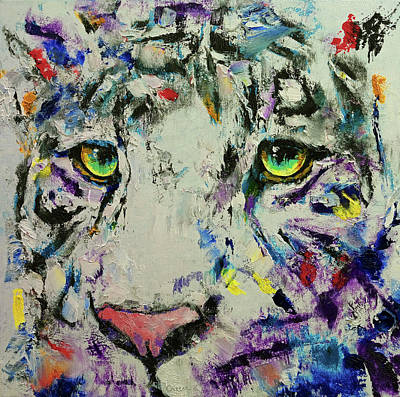 Black And White Cat Painting - White Tiger by Michael Creese