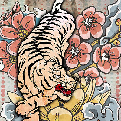 Oriental Tiger Digital Art - White Tiger by Michelle Murphy