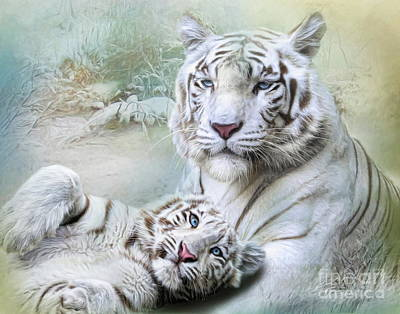 Art Print featuring the digital art  White Tiger by Trudi Simmonds