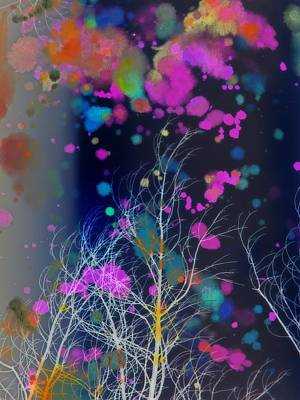 Surreal Art Mixed Media - White Tree In A Paint Storm by Gothicrow Images