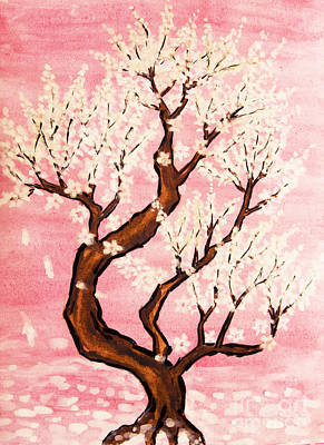 Painting - White Tree On Pink Background, Painting by Irina Afonskaya