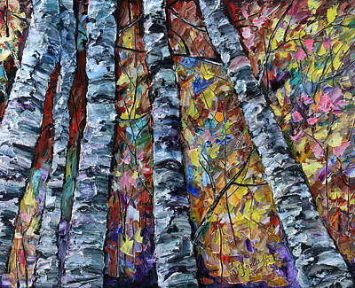 Painting - White Trees  by OLena Art Brand