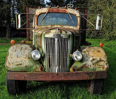 Photograph - White Truck 52 by Gary Karlsen