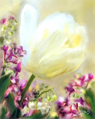 White Tulip Glow Art Print by Patty Muchka