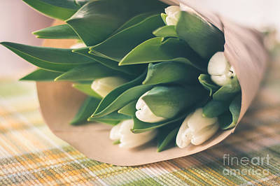 Photograph - White Tulips Bouquet by Cheryl Baxter