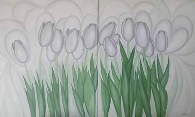 White Tulips  Art Print by Marinella Owens