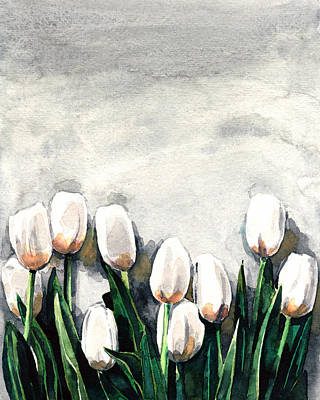 Lily Of The Valley Painting - White Tulips With Greenery On Gray by Laura Row
