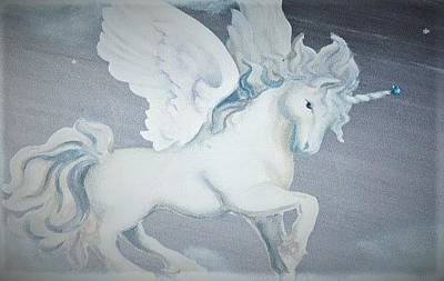 Painting - White Unicorn Flying by Suzn Art Memorial