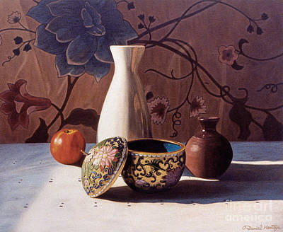 Painting - White Vase And Enamel Pot by Daniel Montoya