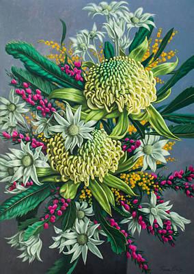 White Waratahs And Boronia Original by Fiona Craig