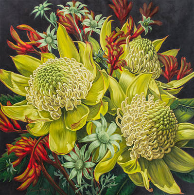 Australian Flowers Painting - White Waratahs Flannel Flowers And Kangaroo Paws 3 by Fiona Craig