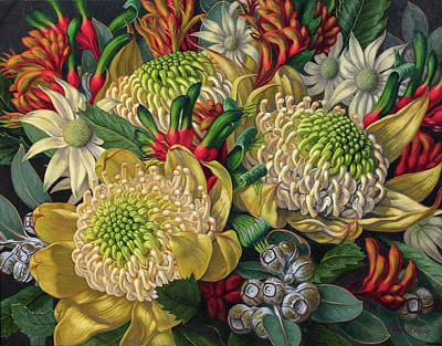 Australian Flowers Painting - White Waratahs Flannel Flowers And Kangaroo Paws by Fiona Craig
