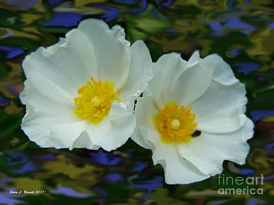 Mixed Media - White Water Flowers by Jerry L Barrett