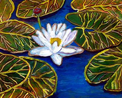 Painting - White Water Lily by Anne Sands