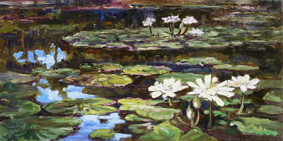 Painting - White Waterlilies In Tower Grove Park by Irek Szelag