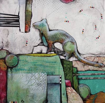Mixed Media - White Weasel  by Laura Lein-Svencner