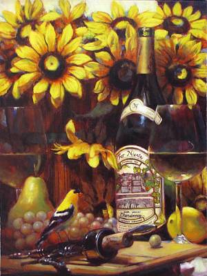White Wine And Gold Finch With Sun Flower Art Print by Takayuki Harada