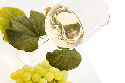 White Wine In Glass Art Print by Wolfgang Steiner