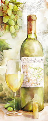 Wine Bottle Painting - White Wine Watercolor by Mauro DeVereaux