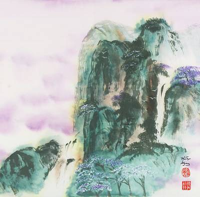 Egret Watercolor Artists Painting - White Wings Circle Jacaranda Blooms by Marilyn Allysum