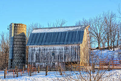 Photograph - White Winter Barn by Bonfire Photography
