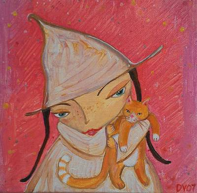 Painting - White Witch And Kitty Poo by Dawn Vagts