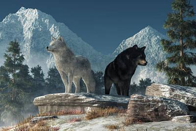 Digital Art - White Wolf, Black Wolf by Daniel Eskridge