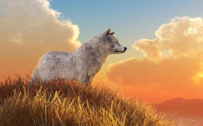 Digital Art - White Wolf by Daniel Eskridge