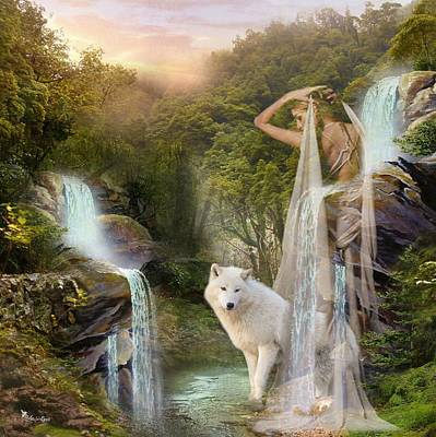Digital Art - White Wolf Falls by Ali Oppy