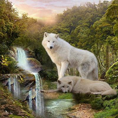 Digital Art - White Wolf Falls2 by Ali Oppy