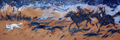 Painting - White Wolf Hunt by Maxim Komissarchik