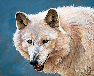 White Wolf Art Print by J W Baker