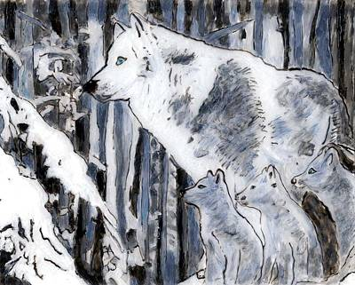 White Wolf Art Print by Phil Strang