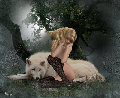 Digital Art - White Wolf Snuggles  by Ali Oppy