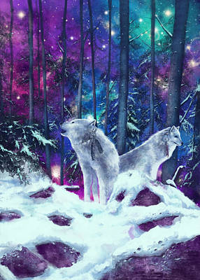 Painting - White Wolves by Bekim Art