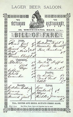 Photograph - Whitechapel Pub Menu 1900 by Daniel Hagerman