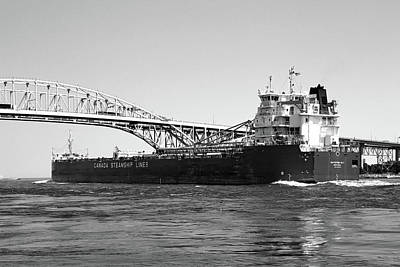 Photograph - Whitefish Bay And Blue Water Bridge 2 Bw by Mary Bedy