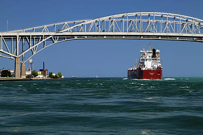Photograph - Whitefish Bay And Blue Water Bridge by Mary Bedy