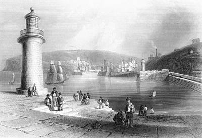 Lighthouse Drawing - Whitehaven Harbour, Cumbria, England In by Vintage Design Pics