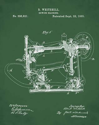 Sepia Chalk Digital Art - Whitehill Sewing Machine Patent 1885 Green by Bill Cannon