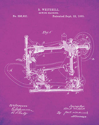Sepia Digital Art - Whitehill Sewing Machine Patent 1885 Pink by Bill Cannon